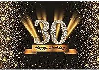 新しい2.1x1.5mVinyl誕生日の背景30歳の誕生日の背景ゴールドブラックキラキラスパンコール背景写真キッズパーティー