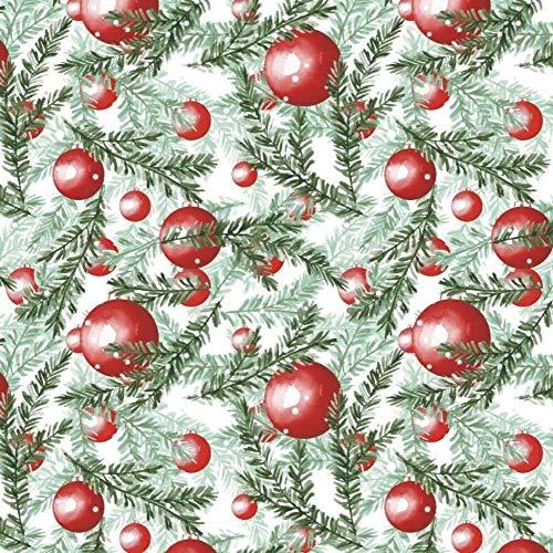 Pingianer Tela de algodón 100 % para Navidad, 200 x 160 cm, para niños, por metros, artesanía, costura (bolas de Navidad 1, 200 x 160 cm)