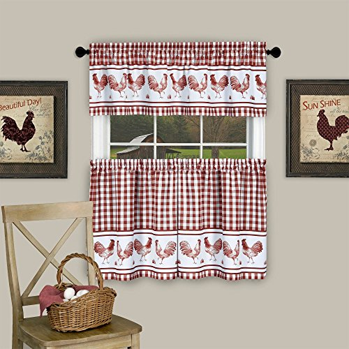 """Sweet Home Collection 3 Piece Kitchen Curtain Set Barnyard Rooster Design with Tier Pair and Valance 36"""", Burgundy"""