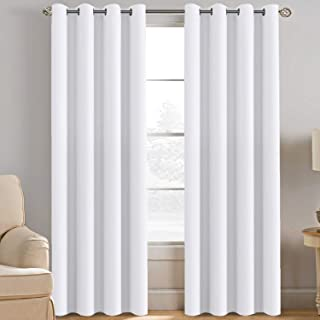White Curtain 84 inches Long for Living Room Thermal Insulated Window Treatment Panel / Drape for Dining Room, Elegant Sof...
