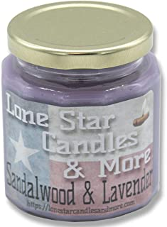 Scented Candles Soy Candles   Hand Poured 100% Soy Wax Candles   Natural Soy Candles Lone Star Candles Blend Sandalwood & Lavender Scent   LoneStar Candles Aromatherapy 10 oz Jar Lavender Scent