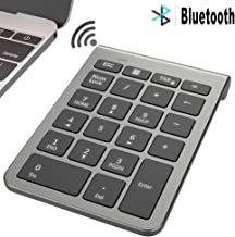 MoKo Bluetooth Number Pad, Portable Wireless 22-Key Numeric Keypad Ultra Slim USB Keyboard External Numpad Data Entry for Laptop, Notebook, PC - Space Gray