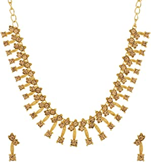 Indian Bollywood Crystal Stone CZ Stone Traditional Necklace Set for Women