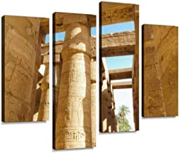 Great Hypostyle Hall at Karnak Temple in Egypt Canvas Print Artwork Wall Art Pictures Framed Digital Print Abstract Painting Room Home Office Decor Ready to Hang 4 Panel