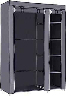 SONGMICS Armoire de Rangement Penderie de vêtement Pliable en Toile XL 110 x 45 x 175 cm Gris LSF007G