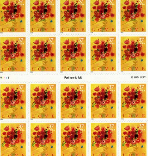 USPS Love Bouquet 20 x 37 Cent US Postage Stamps Scot #3898