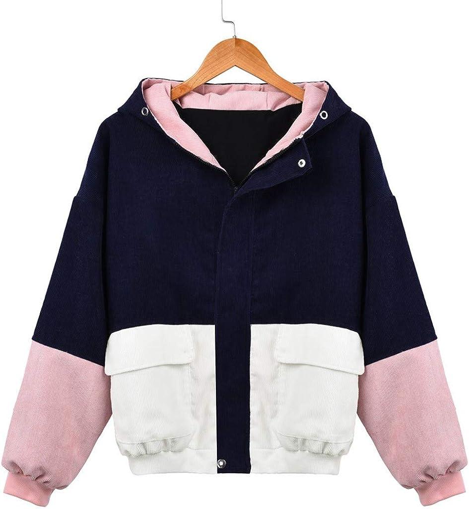 Corduroy Color Block Vintage Jackets for Women Warm Three-Color Hoodie Corduroy Jacket Cute Zip Button Up Jacket