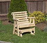 Amish Heavy Duty 600 Lb Roll Back Pressure Treated Porch Patio Garden Lawn Outdoor Glider Chair-2 Feet-Natural-Made in...