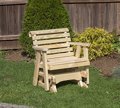 Amish Heavy Duty 600 Lb Roll Back Pressure Treated Porch Patio Garden Lawn Outdoor Glider Chair-2 Feet-Natural-Made in USA