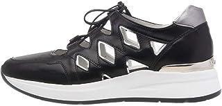 07723 Nero Scarpa Donna Nero Giardini Sneakers Aperta Pelle Made in Italy