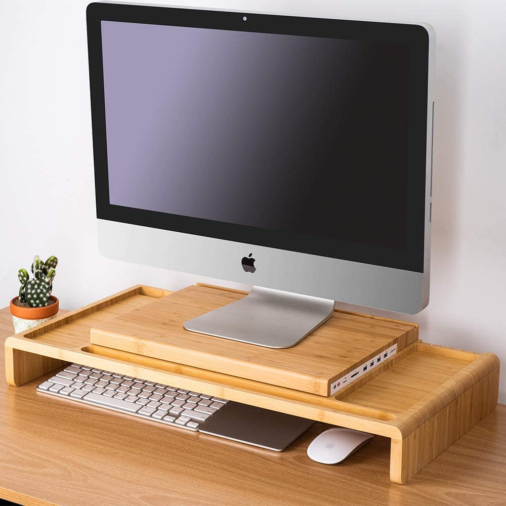 LAYTURE Wood All-in-one Monitor Stand Riser with Organizer Storage (4 x USB3.0 + SD, MicroSD Slot + Earphone, Mic Jack) Compatible with 21.5-Inch iMac, Various Storage Accessories