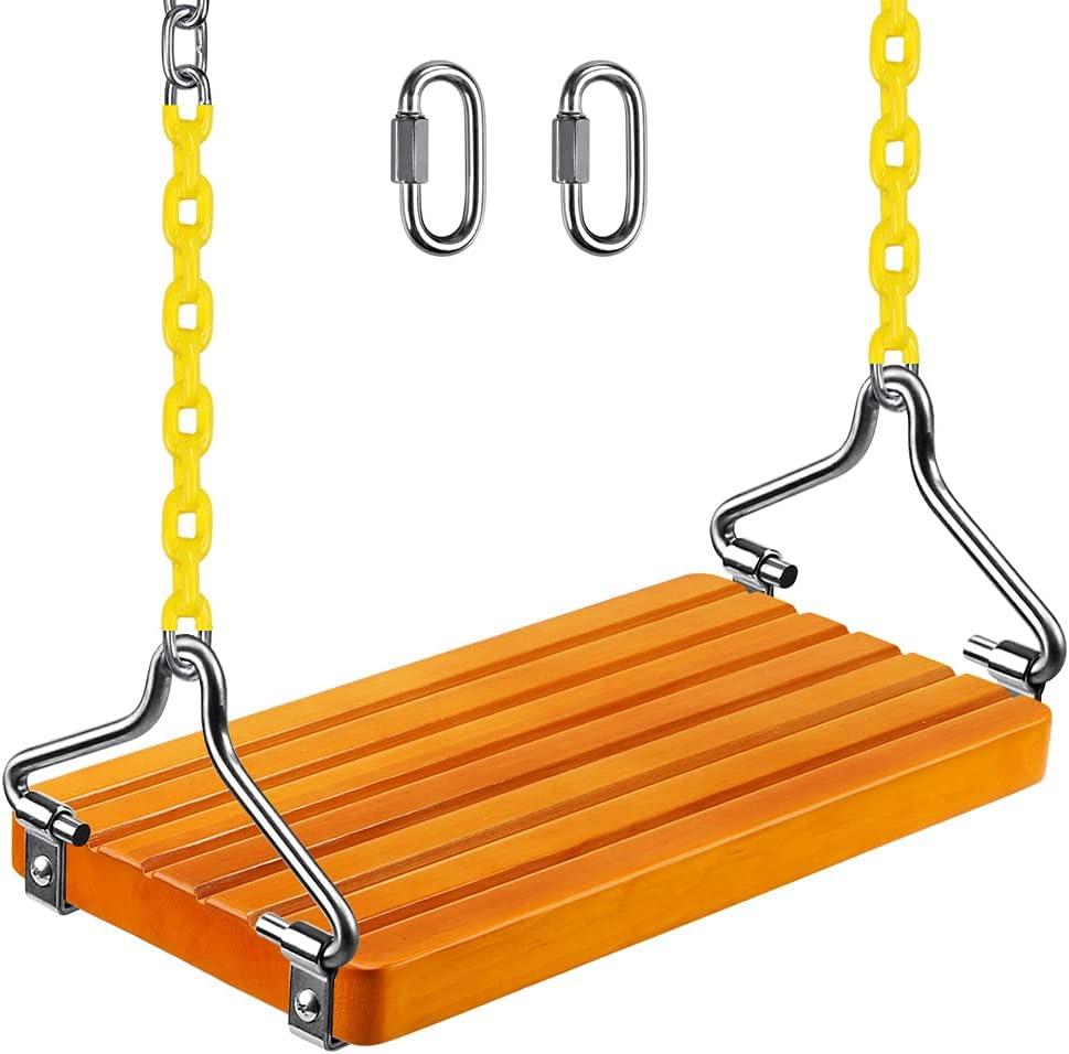 SELEWARE Wooden Swing Set, Wood Tree Swing Seat with Chain, Wood