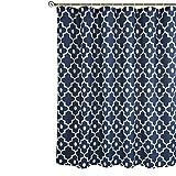 Biscaynebay Duschvorhang, extra lang, strukturierter Stoff, marokkanische Perle, bedruckt, für Badezimmer, marineblau, 183 cm Breite x 213 cm Höhe