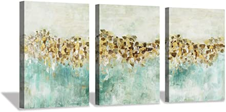 """Abstract Teal Canvas Wall Art: Golden Harvest Farmhouse Artwork Painting for Office (16""""x12""""x3pcs)"""