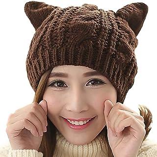 Amersin Cute Woollike Knitted CAT Kitty Ears Women Lady Girl Headgear Crochet Hats