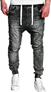 Elogoog-Men Mens Biker Moto Jeans Casual Zipper Slim Fit Stretch Skinny Vintage Distressed Denim Trousers