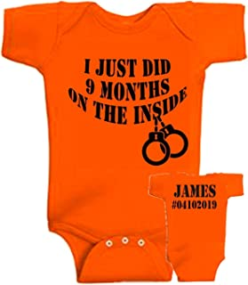 Personalized custom I just did 9 months on the inside baby onesie, color options, add name and number option, 9 months