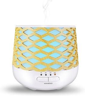 MIABOO Diffuseur d'Huiles Essentielles, 130ml Ultrasonique Humidificateur Diffuseur Aromathérapie avec 7 Lumière LED à Cou...