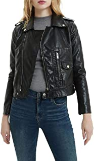 Howely Women's Classic Zip Front Faux Leather Jackets Short Moto Biker Coat