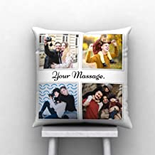 PIXART 4 Photo with Text Massage Printed Decorative Customized Cushion Size (12X12 Inch.)