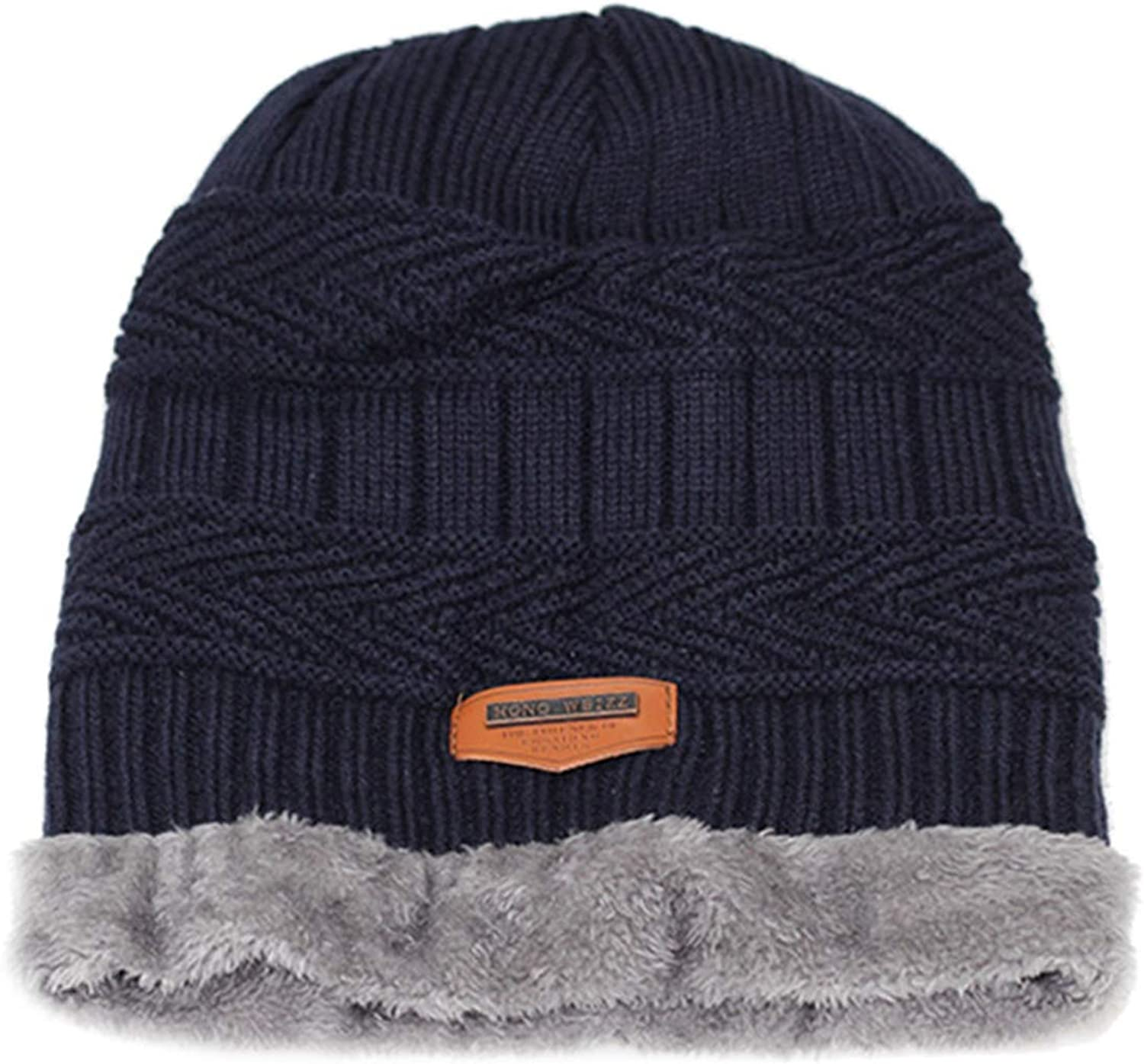 Men Winter Slouchy Beanie Hat Scarf Set Women Lined Thick Knit Skull Cap Thick Warm Wool Knitted Hat