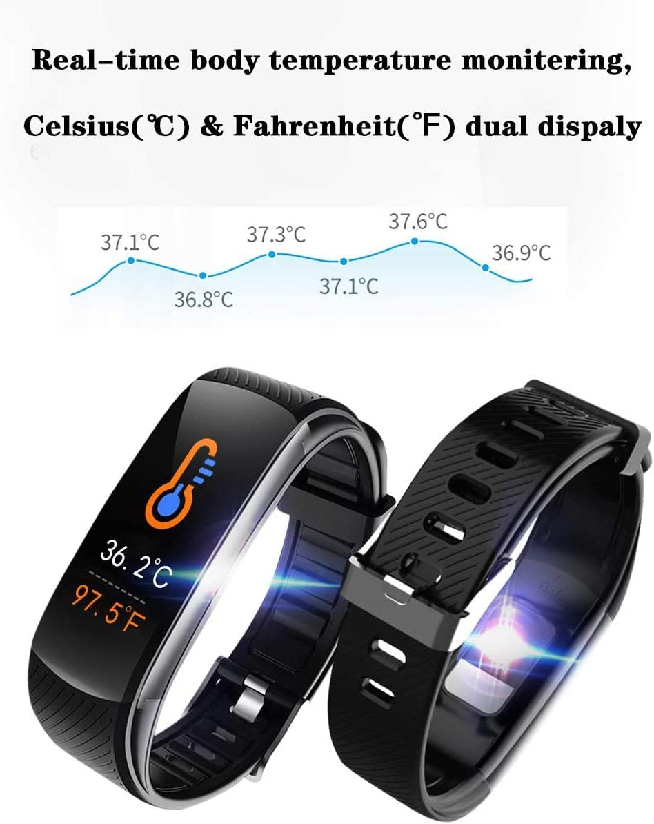 Fitness Tracker for Women Men iOS Android Heart Rate and Blood Oxygen IP67 Waterproof Sports Bracelet Calorie Activity Tracker Sleep Monitor Smart Bracelet with Body Temperature Detection