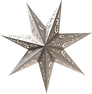 Lumabase 87203 Paper Lantern 7 Pointed Star, Silver