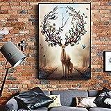 Geiqianjiumai Ciervo nórdico Arte de la Pared Lienzo Animal Moderno Alce nórdico Ciervo Pop póster en la Pared Cuadro de Arte Abstracto Pintura sin Marco 50X75 cm