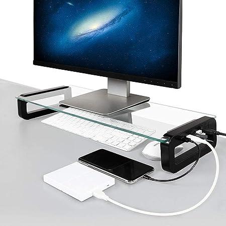 Dreamsoule モニター台 机上台 【4 USB 3.0 ポートHub】 急速充電 5Gbps 高速データ転送 強化ガラス製 デスクボード ノートパソコンスタンド モニタースタンド キーボードトレイ USBケーブル付き (ブラック)