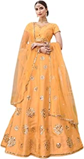 yellow orange Indian Designer Party Silk Zari & Mirror Hand Work Women'a Ghagra Lehenga Choli Dupatta 6247