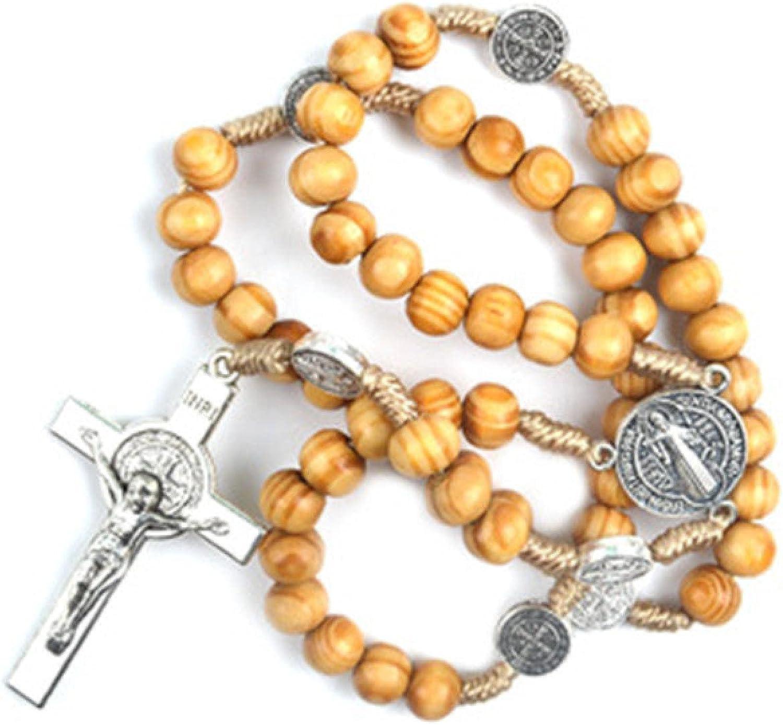 Handmade Beaded DIY Christ Jesus Wooden Beads Rosary Cross Pendant Woven Rope Chain Necklace strand Religious Praying