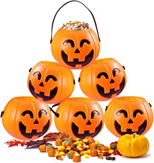 HansGo Mini Halloween Portable Pumpkin Bucket, 12PCS Small Halloween Pumpkin Candy Buckets Children Trick or Treat Bags