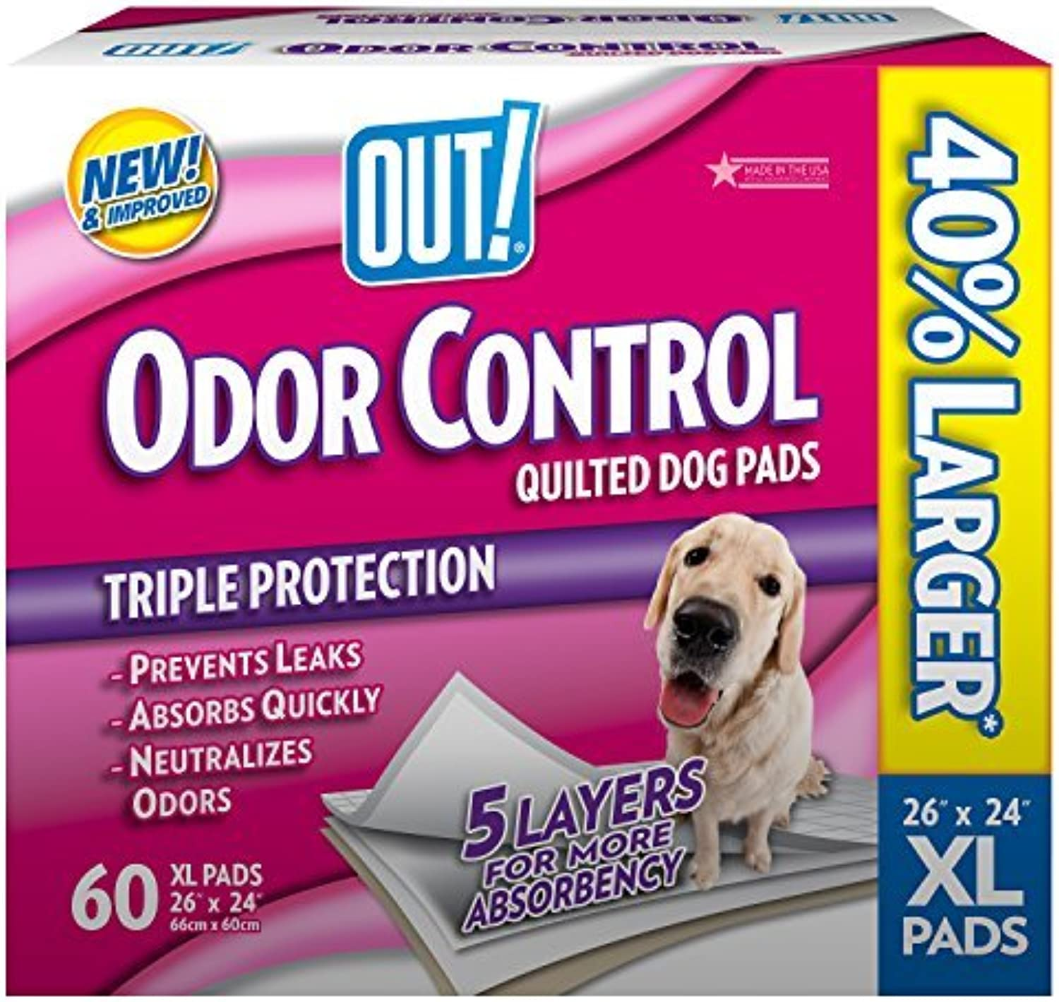 OUT  60 Count Odor Control XLarge Dog Pads by OUT