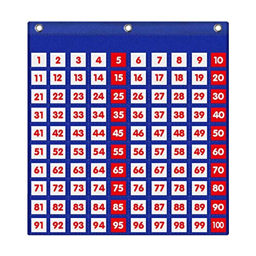 Eamay Hundreds Pocket Chart with 130 Number Cards, Number 1-100 Board Pocket Chart for Teacher Lessons in a Classroom or for Use at Home (100 Pockets)