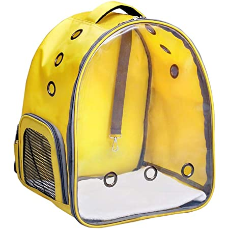 Risan Pet Transparent Cat & Small Dog Puppy Kitty Shihtzu Carriers for Breathable Airline Travel Approved Air Ventilation Backpack Size 17 × 13 × 11 inch Yellow
