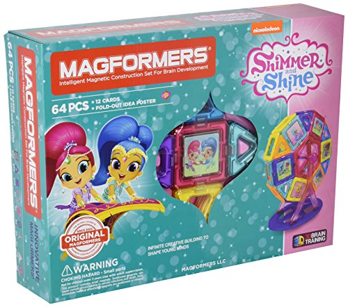 Magformers Shimmer and Shine Carnival 64 Pieces Set, Pink and Purple Colors, Educational Magnetic Geometric Shapes Tiles Building STEM Toy Set Ages 3+