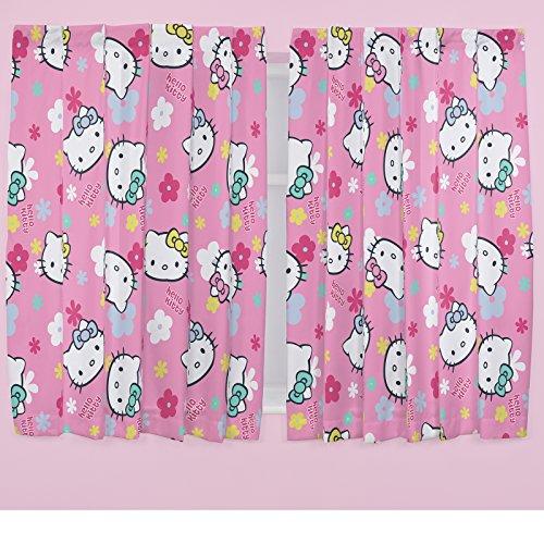 Hello Kitty Pazzerello A Fiori Rosa Bambini 167.6x137.2cm Tende Confezionate