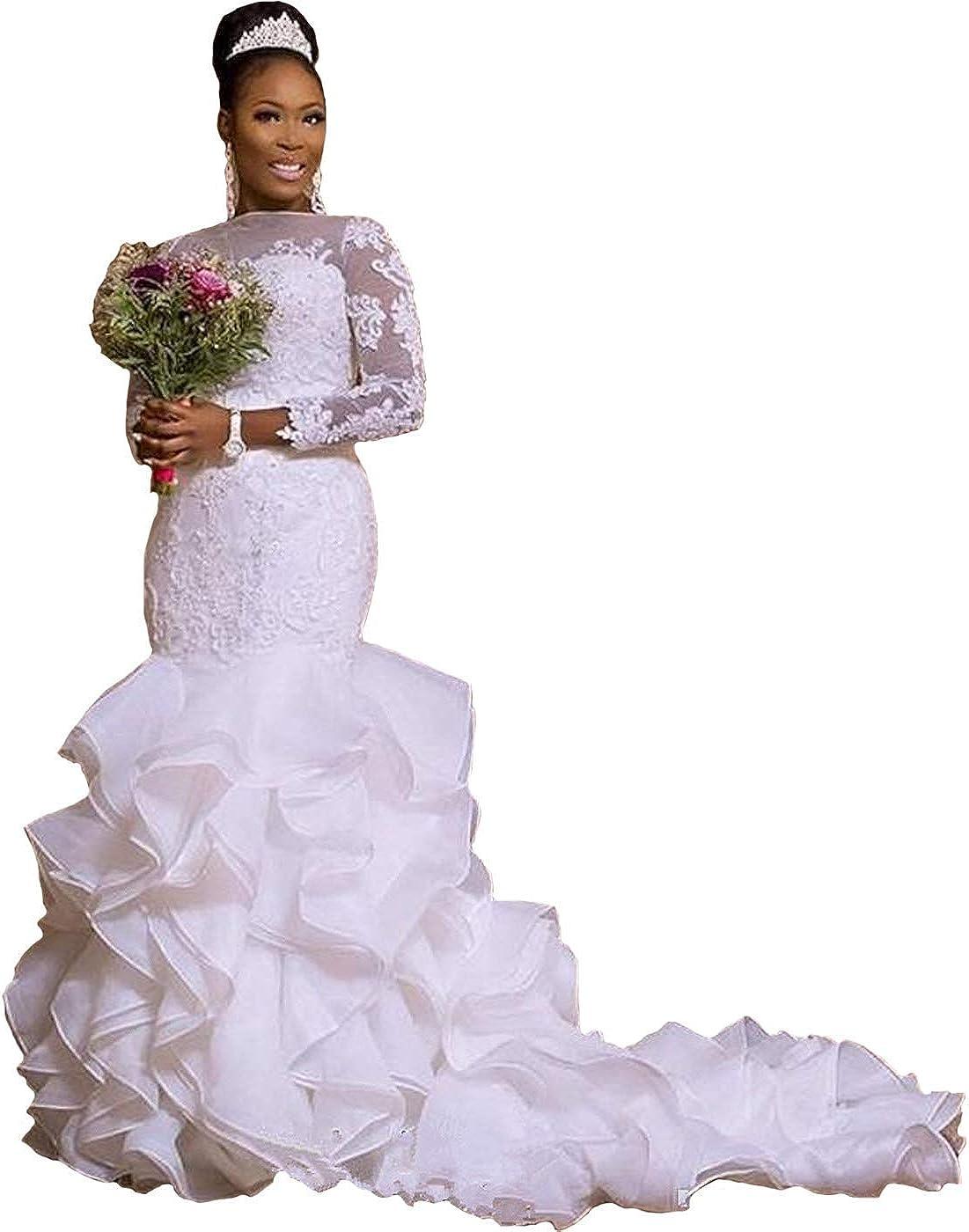 iluckin Mermaid Organza Wedding Dresses with Ruffles Train Long Sleeve for Women Bride Bridal Ball Gowns Plus Size