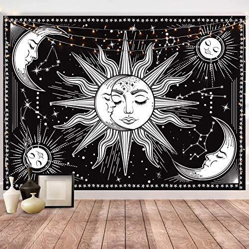 Violas Tarot Wandteppich Sonne und Mond Psychedelische Tapisserie Wandtuch Schwarz Mystic Wandbehang indisch Mandala Bohemien Wandteppiche Hippie Tapestry Wanddeko für Wohnzimmer Schlafzimmer Home