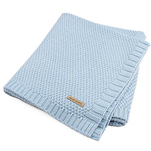 Knitted Baby Decke Swaddle Empfangen Decken für Neugeborene Jungen Mädchen Kinder(Blau)