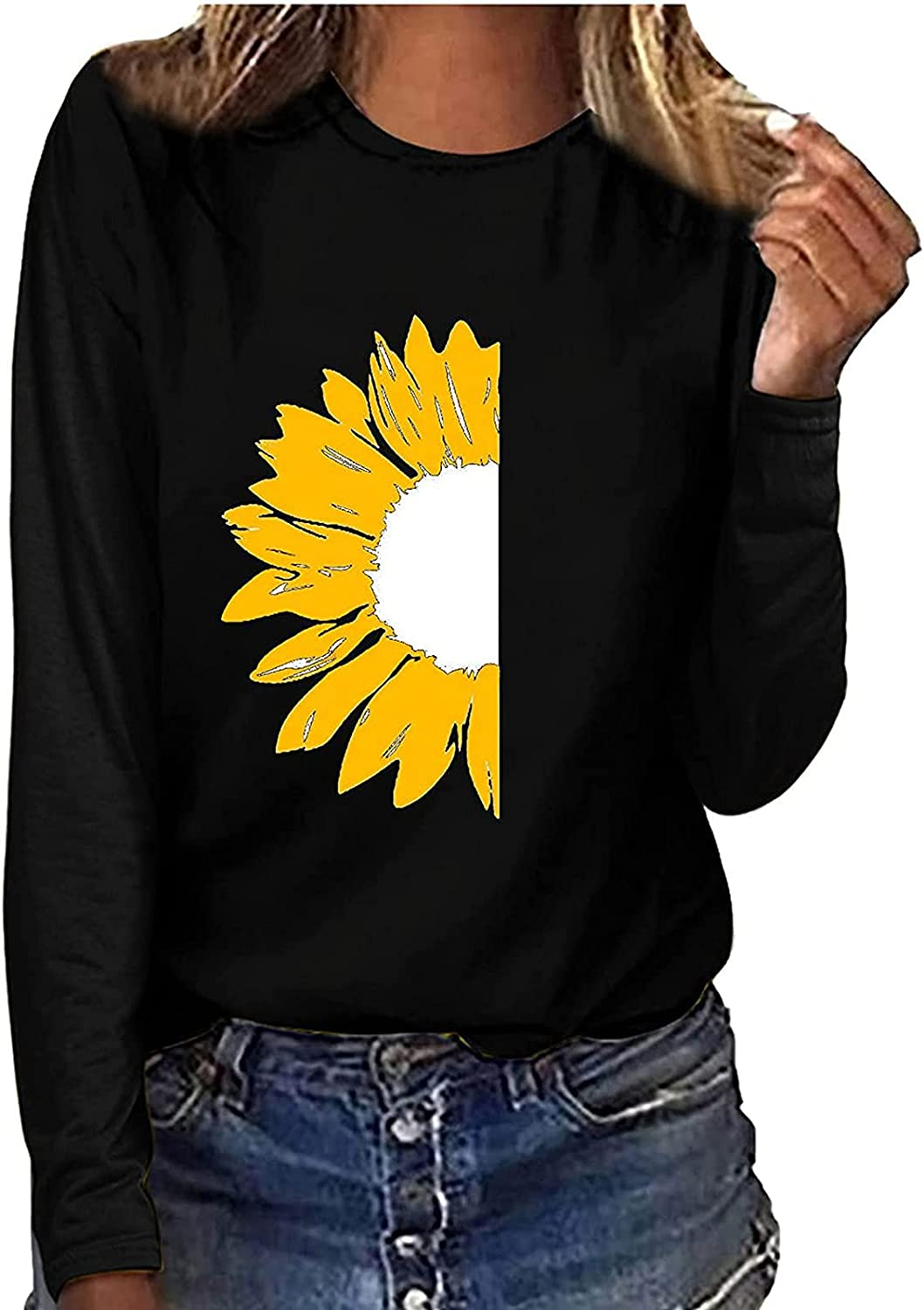 RFNIU Comfort Colors Tshirt Fall Casual Basic Athletic Round Neck Pullover Tops Cute Long Sleeve Black Blouses