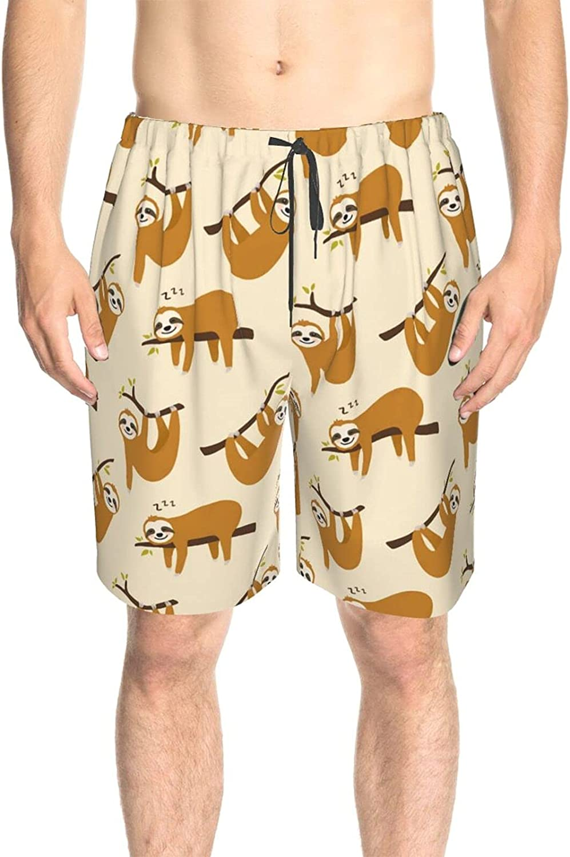 JINJUELS Men's Swim Shorts Cute Cartoon Sloth Beach Board Shorts Quick Dry Cool Summer Beach Shorts with Mesh Lining