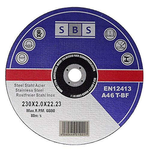 SBS 25 piezas de discos de corte inoxidables, 230 x 2,0 mm, discos de corte de metal
