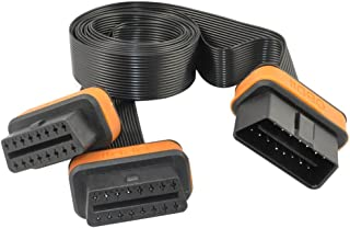 OLLGEN 16 Pin 3.3ft/1M OBD2 Cable Splitter,OBD-II 1 Male Splitter to 2 Female Extension Cable,Ultra Flat Low Profile Car D...