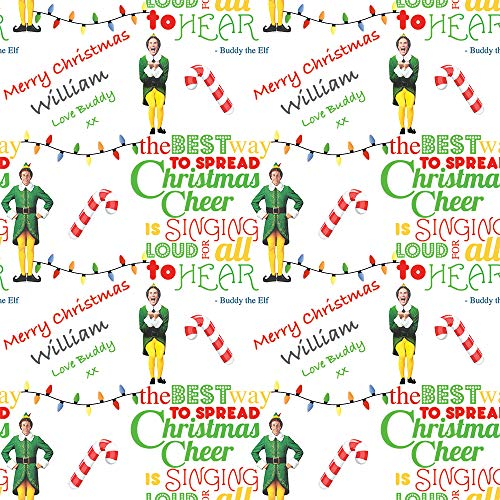 Buddy The Elf Personalised Christmas Wrapping Paper with 2 Tags