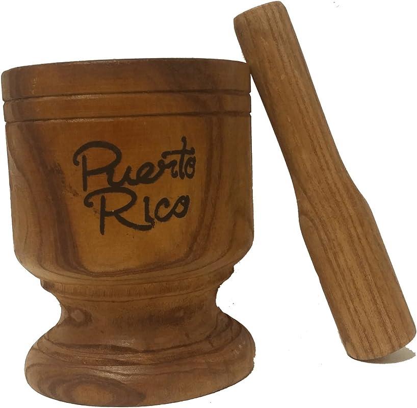 Wooden Mortar Puerto Rico Small Size 5 X 3 3 4