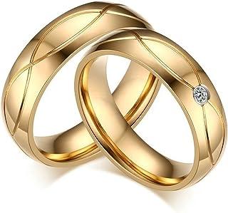 Pareja Precio Anillos de Acero Inoxidable Hombres Mujeres Alto Pulido X Cruzar Ronda Zirconia Anillo de Compromiso Anillos de Bodas de Oro