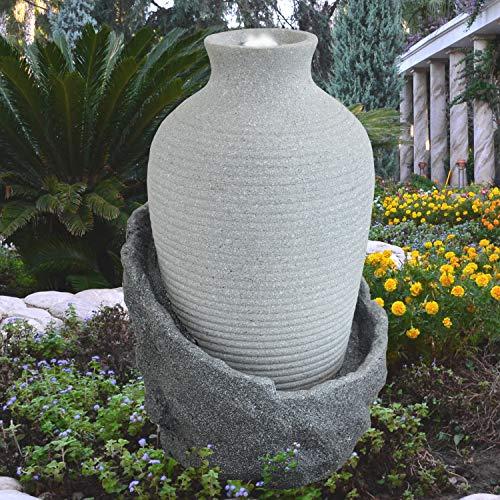 Gartenbrunnen Brunnen Zierbrunnen Zimmerbrunnen Brunnen AMPHORE Korfu lichtgrau mit LED-Licht 230V Wasserfall Wasserspiel für Garten, Gartenteich, Terrasse, Teich, Balkon Sehr Dekorativ