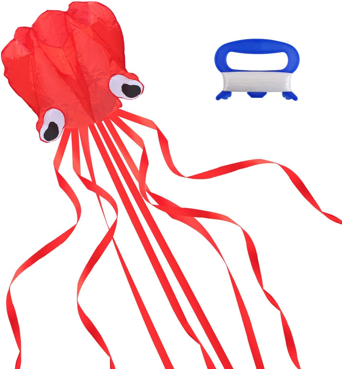 GWHOLE 3D Octopus Kite with Long Tail for Kids Outdoor Game Acti