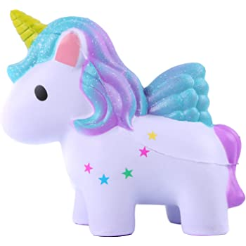 AOLIGE Squishies Slow Rising Jumbo Kawaii Cute Colored Unicorn Creamy Scent for Kids Party Toys Stress Reliever Toy